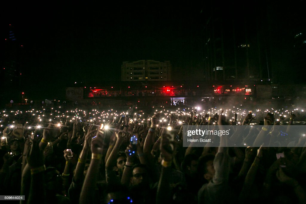 Fans at Redfest DXB at Media City Amphitheatre on February 12, 2016 in Dubai, United Arab Emirates.