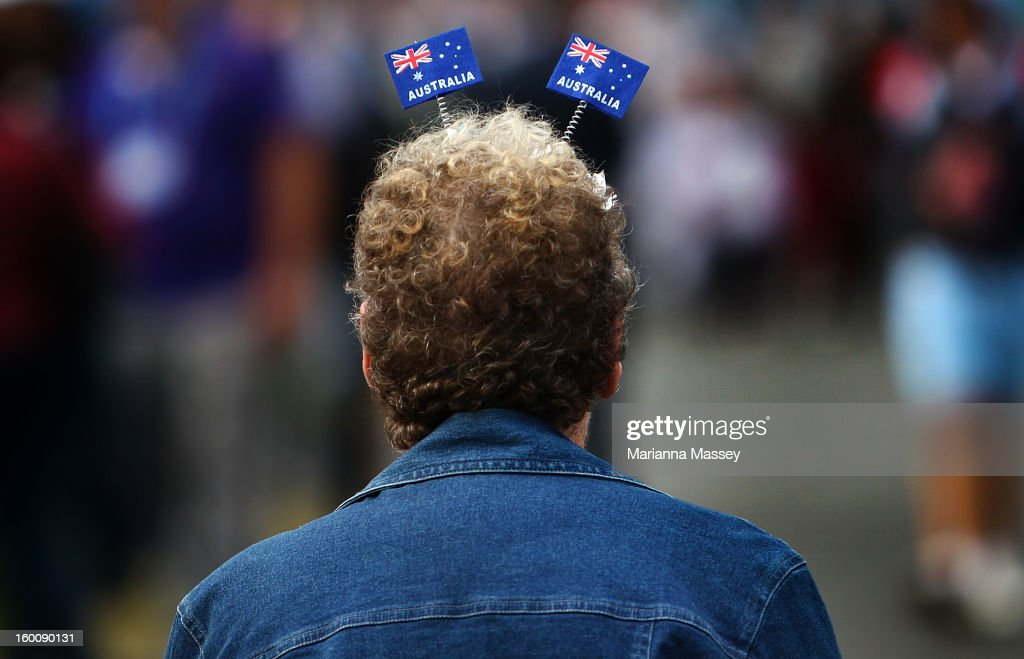 Fans at the Australia Day citizenship ceremony during day twelve of the 2013 Australian Open at Melbourne Park on January 26, 2013 in Melbourne, Australia.
