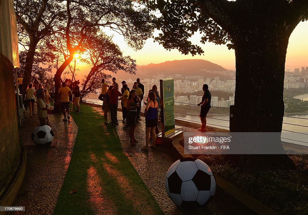Fans at the FIFA Confederations Cup match between Brazil and Mexico at a public viewing event on Urca mountain on June 18, 2013 in Rio de Janeiro, Brazil.