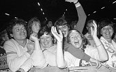 Fans at the Rod Stewart concert in the RDS September 1986 986429 Photographer Michael MacSweeney