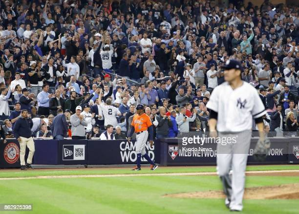 Fans at Yankee Stadium give American League Championship Series Game 5 starter Masahiro Tanaka a standing ovation after the sixth inning Oct 18 2017...