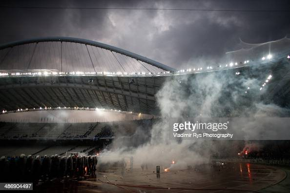K fans attack police ahead of the Greek Cup Final match between PAOK and Panathinaikos FC at the OAKA Stadium on April 26 2014 in Athens Greece
