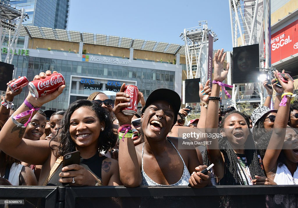 Fans attend a performance at 106 & Park Sponsored by Coca-Cola during the 2016 BET Experience on June 25, 2016 in Los Angeles, California.