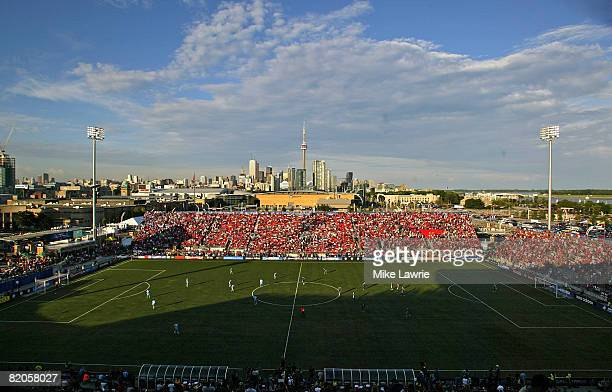 Fans attend the 2008 Pepsi MLS AllStar Game between the MLS AllStars and West Ham United at BMO Field July 24 2008 in Toronto Canada