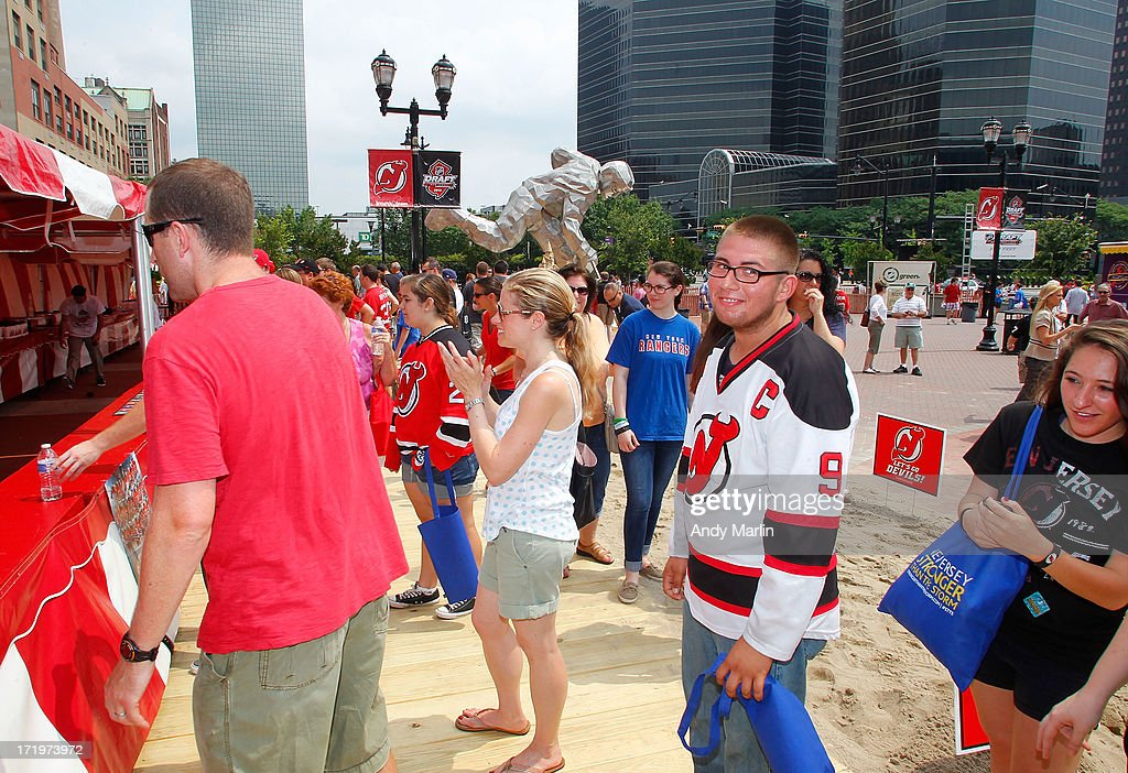 Fans attend the 2013 NHL Draft Fan Fest at Prudential Center on June 30, 2013 in Newark, New Jersey.