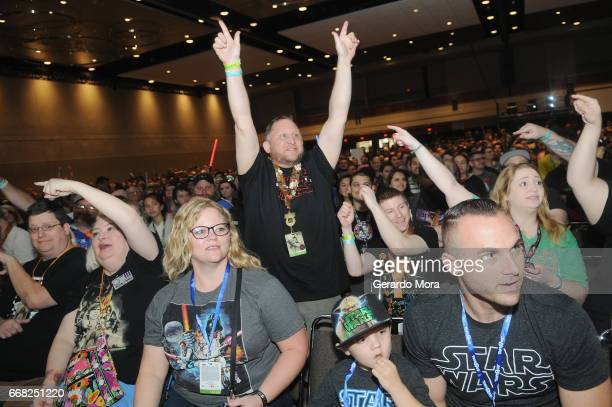 WARS fans attend the 40 Years of Star Wars panel during the 2017 Star Wars Celebrationat Orange County Convention Center on April 13 2017 in Orlando...