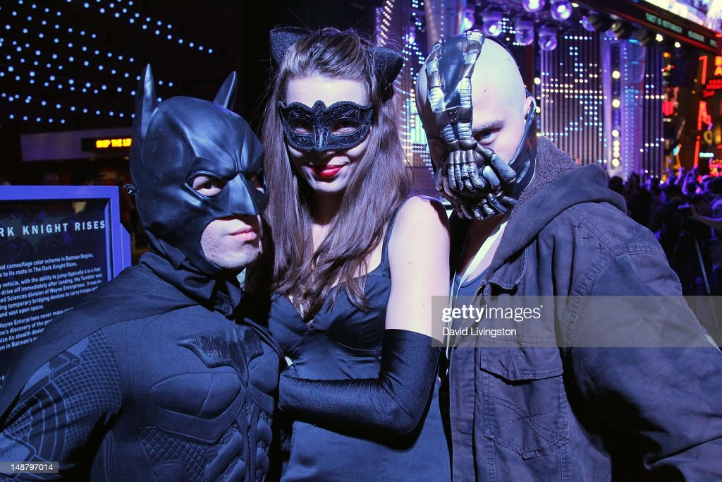 Fans attend 'The Dark Knight Rises' midnight screening event at Universal CityWalk Cinemas on July 19 2012 in Universal City California
