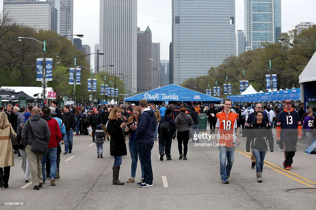 Fans attend the Draft Town prior to the 2016 NFL Draft at Grant Park on April 28, 2016 in Chicago, Illinois.