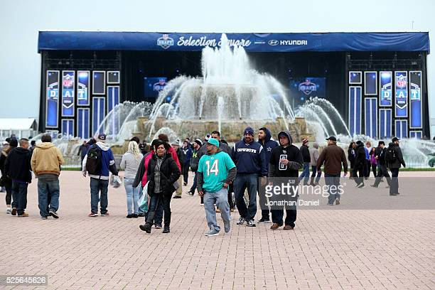 Fans attend the Draft Town prior to the 2016 NFL Draft at Grant Park on April 28 2016 in Chicago Illinois