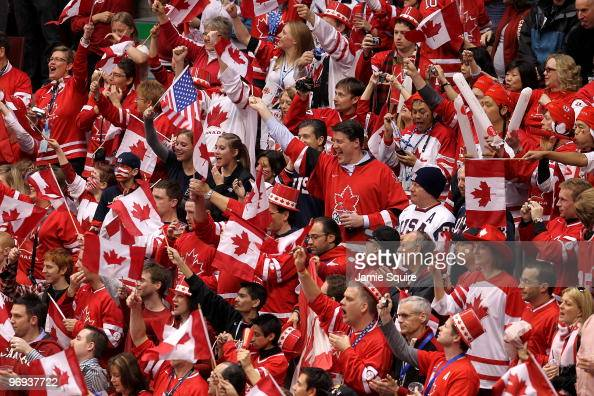 Fans attend the ice hockey men's preliminary game on day 10 of the Vancouver 2010 Winter Olympics at Canada Hockey Place on February 21 2010 in...