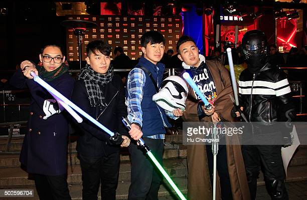 Fans attend the premiere of Star Wars on December 27 2015 in Shanghai China