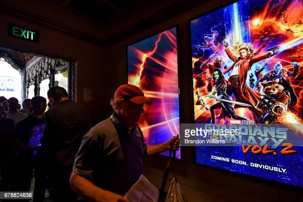 Fans attend the screening of Disney and Marvel Studios' 'Guardians of the Galaxy Vol 1' and 'Guardians of the Galaxy Vol 2' at El Capitan Theatre on...