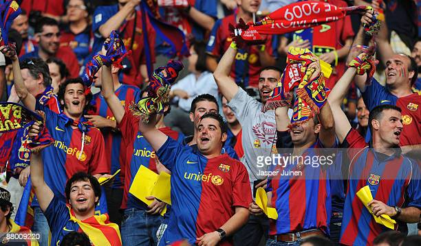 Fans attend the UEFA Champions League Final match between Barcelona and Manchester United at the Stadio Olimpico on May 27 2009 in Rome Italy