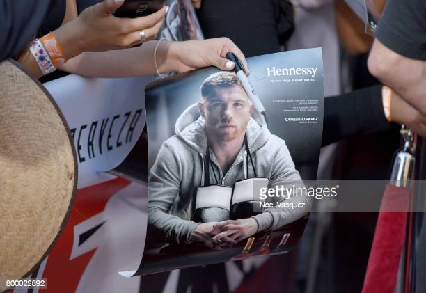 """Fans await autographs at the Canelo Alvarez and Gennady """"GGG"""" Golovkin press tour presented by Hennessy at AVALON Hollywood on June 22 2017 in Los..."""