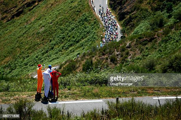 Fans await the arrival of the peloton as it makes its way up the Col d'Aspin during stage eleven of the 2015 Tour de France a 188 km stage between...