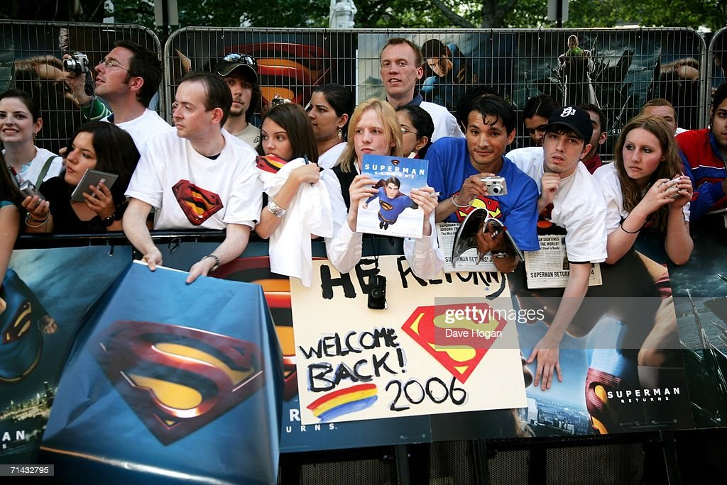 Fans await the arrival of the stars at the UK Premiere of 'Superman Returns' at Odeon Leicester Square on July 13, 2006 in London, England.