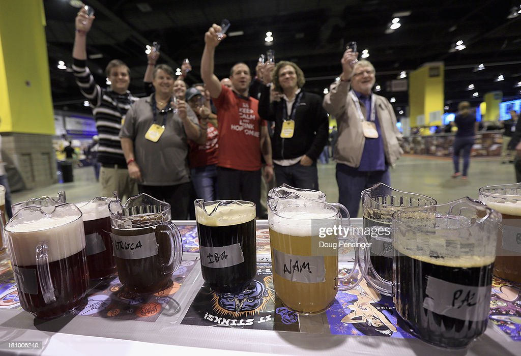 Fans await the official opening and prepare to taste beer from Dogfish Head Craft Brewery of Milton, Delaware at the 32nd annual Great American Beer Festival at the Colorado Convention Center on October 10, 2013 in Denver, Colorado. The GABF runs October 10-12 and 49,000 attendees will be offered 3100 beers from 624 breweries.