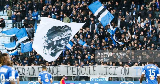 Fans Bastia during the French Ligue 1 match between Bastia and Lille at Stade Armand Cesari on April 1 2017 in Bastia France