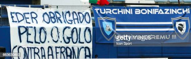 Fans Bastia thanks Eder for the goal against the France in European Championship during the French Ligue 1 match between Bastia and Lille at Stade...