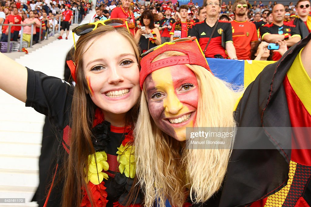 Fans Belgium during the European Championship match Round of 16 between Hungary and Belgium at Stadium Municipal on June 26, 2016 in Toulouse, France.