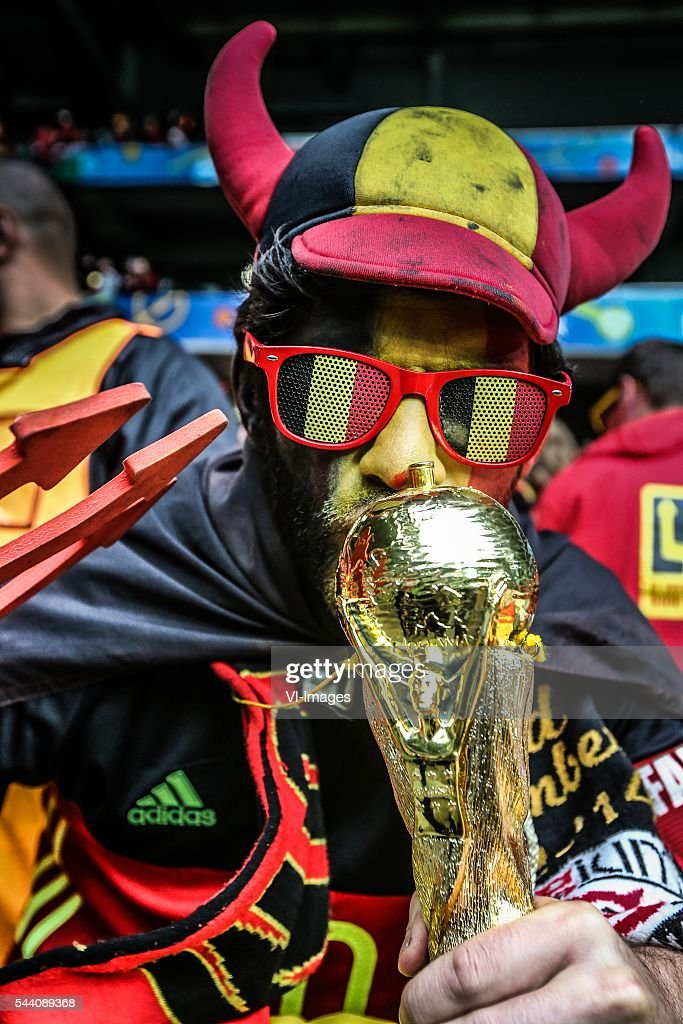fans, belgium, glasses, sminck, world cup, red devil, supporter during the UEFA EURO 2016 quarter final match between Wales and Belgium on July 2, 2016 at the Stade Pierre Mauroy in Lille, France.