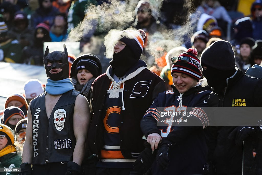 Fans brave the cold weather during the game between the Chicago Bears and the Green Bay Packers at Soldier Field on December 18, 2016 in Chicago, Illinois.