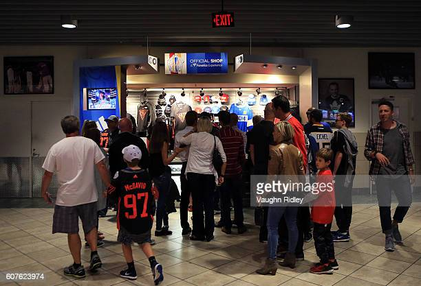 Fans buy merchandise prior to the World Cup of Hockey 2016 game between Team North America and Team Finland at Air Canada Centre on September 18 2016...