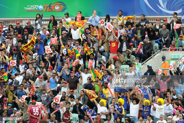 Fans celebrate a boundary during the ICC World Twenty20 Semi Final at The Oval London