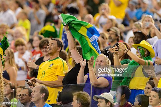 Fans celebrate a goal by Andressa Alves of Brazil during the 2015 FIFA Women's World Cup Group E match at Olympic Stadium on June 13 2015 in Montreal...