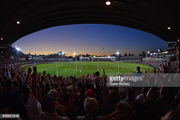 Fans celebrate a goal by the Blues during the round one Women's AFL match between the Collingwood Magpies and the Carlton Blues at Ikon Park on...