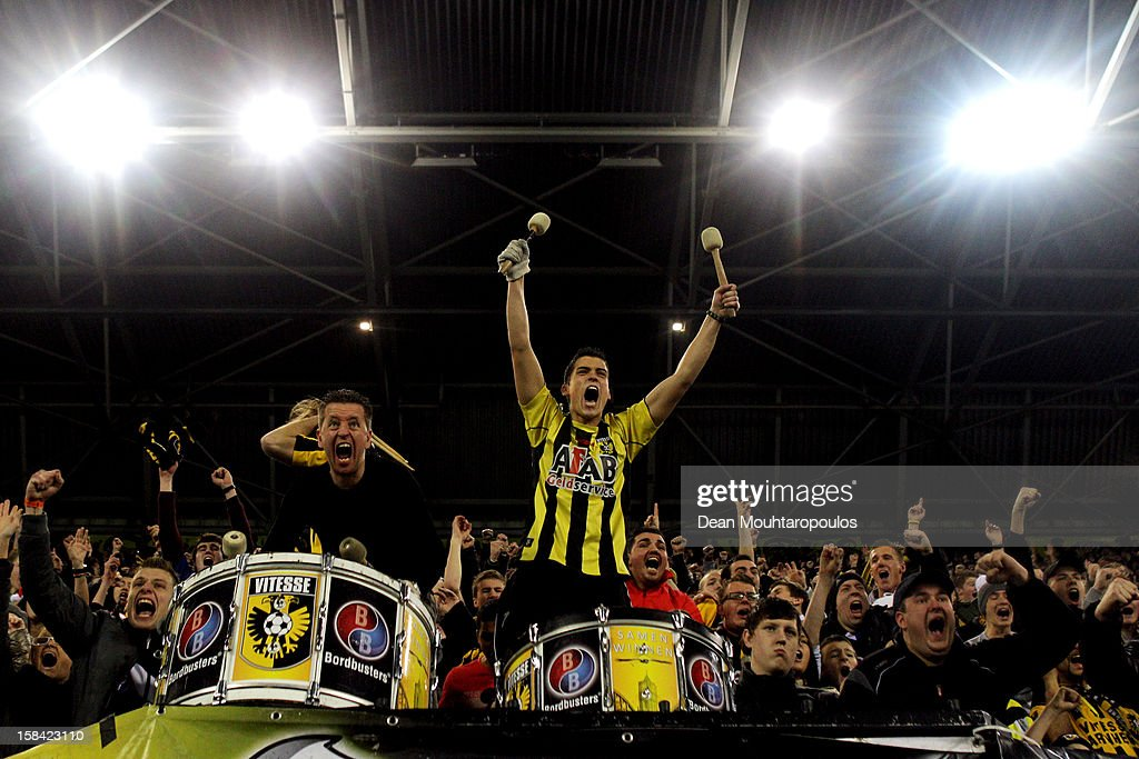 Fans celebrate after Simon Cziommer of Vitesse scores his teams second goal of the game during the Eredivisie match between Vitesse Arnhem and RKC...