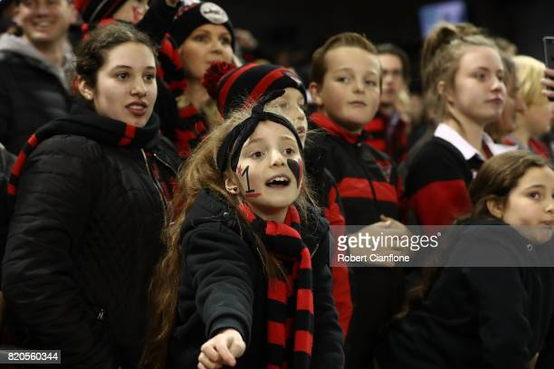 Fans celebrate after the Bombers defeated the Kangaroos during the round 18 AFL match between the Essendon Bombers and the North Melbourne Kangaroos...