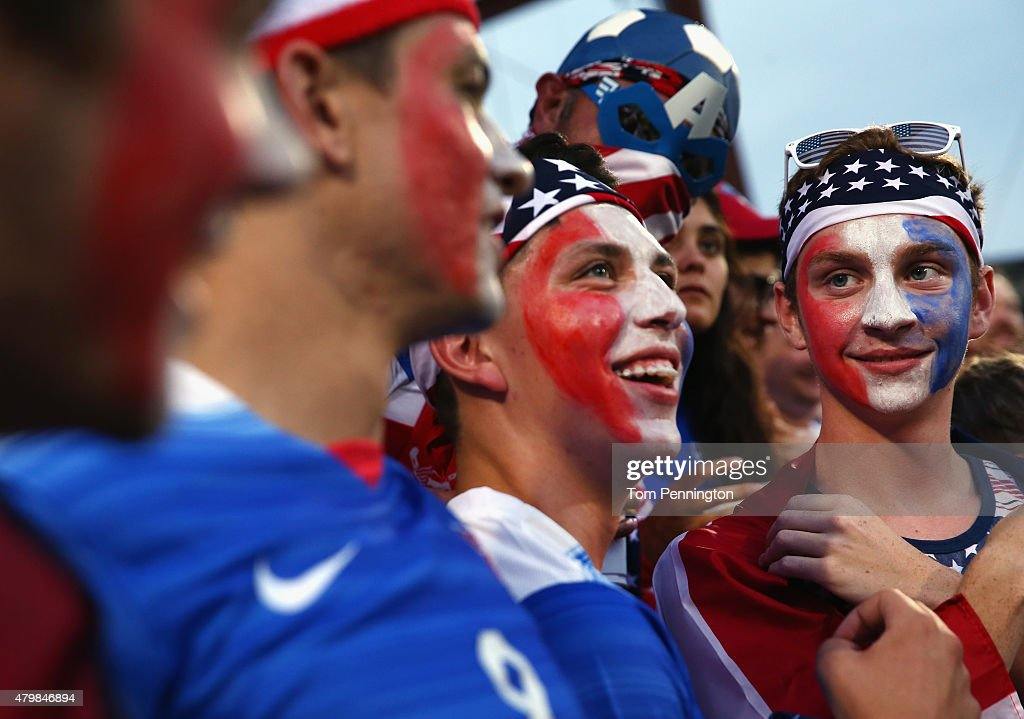 Fans celebrate during the 2015 CONCACAF Gold Cup Group A match between USA and Honduras at Toyota Stadium on July 7, 2015 in Frisco, Texas.