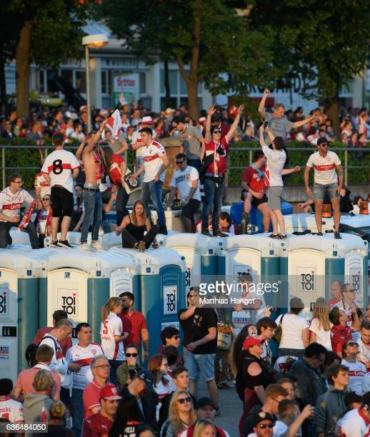 Fans celebrate during the FanParty of VfB Stuttgart after winning the 2 Second Bundesliga Championship title after the 2 Second Bundesliga match...