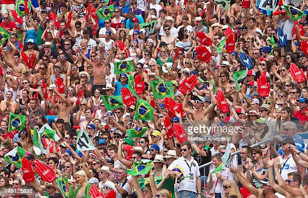 Fans celebrate during the final match of the A1 Beach Volleyball Grand Slam on July 22 2012 in Klagenfurt Austria
