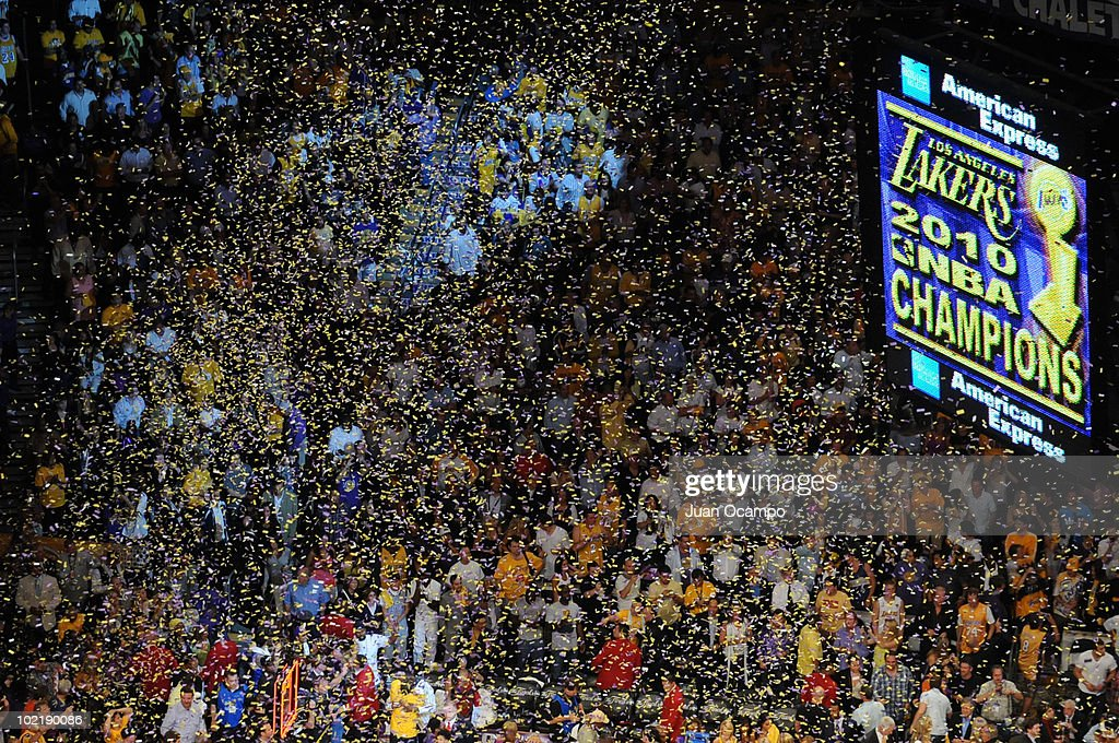 Fans celebrate the Los Angeles Lakers winning over the Boston Celtics in Game Seven of the 2010 NBA Finals on June 17, 2010 at Staples Center in Los Angeles, California.