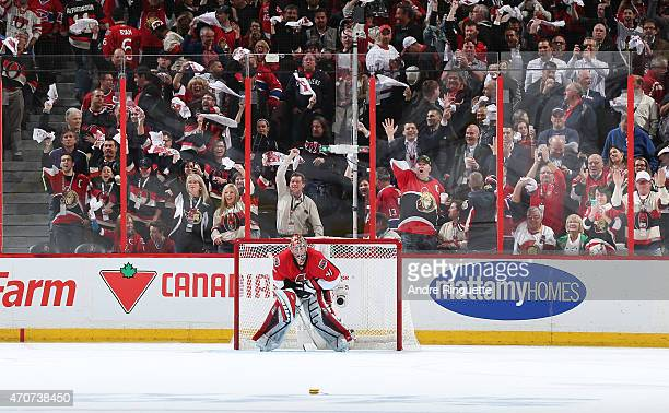 Fans cheer a win and shutout by Craig Anderson of of the Ottawa Senators in the dying seconds of the game against the Montreal Canadiens in Game Four...