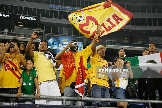 Fans cheer after Monarcas Morelia defeated the New England Revolution 21 to win the SuperLiga 2010 title on September 1 2010 at Gillette Stadium in...