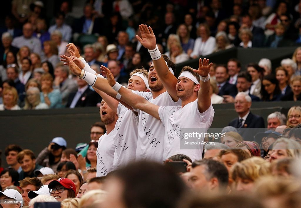 Fans cheer as Marcus Willis of Great Britain plays against Roger Federer of Switzerland in the men's singles on day three of the 2016 Wimbledon Championships at the All England Lawn and Croquet Club in London, United Kingdom on June 29 2016.