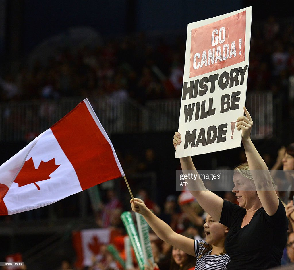 Fans cheer as Milos Raonic of Canada faces Guillermo Garcia-Lopez of Spain in a Davis Cup World Group first round match on February 3, 2019 at the Doug Mitchell Thunderbird Sports Centre in Vancouver. Raonic won 6-3, 6-4, 6-2 to send Canada into their first Davis Cup quarter-final. AFP PHOTO/Don MacKinnon