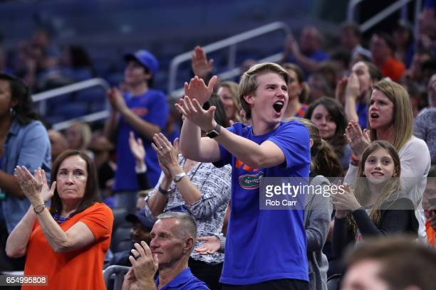 Fans cheer as the Florida Gators take on the Virginia Cavaliers in the second half during the second round of the 2017 NCAA Men's Basketball...