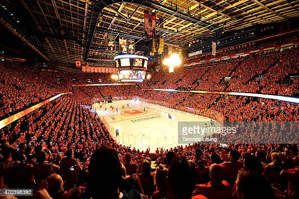 Fans cheer before the game between the Calgary Flames and the Vancouver Canucks at Scotiabank Saddledome for Game Three of the Western Quarterfinals...