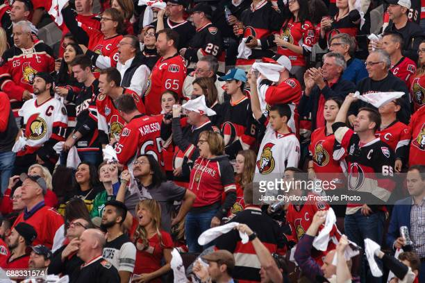 Fans cheer during a game between the Ottawa Senators and the Pittsburgh Penguins in Game Six of the Eastern Conference Final during the 2017 NHL...