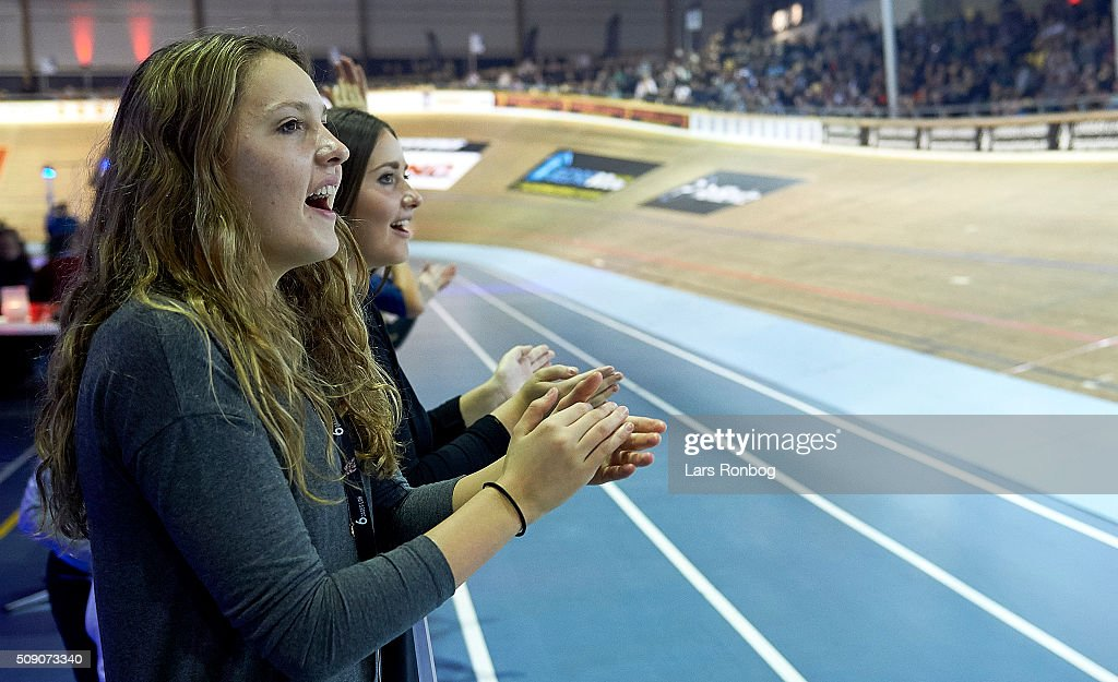 Fans cheer during day five at the Copenhagen Six Days Race Cycling at Ballerup Super Arena on February 8, 2016 in Ballerup, Denmark.
