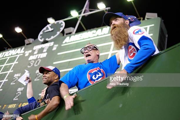 Fans cheer during Game 3 of the NLCS between the New York Mets and the Chicago Cubs at Wrigley Field on Tuesday October 20 2015 in Chicago Illinois
