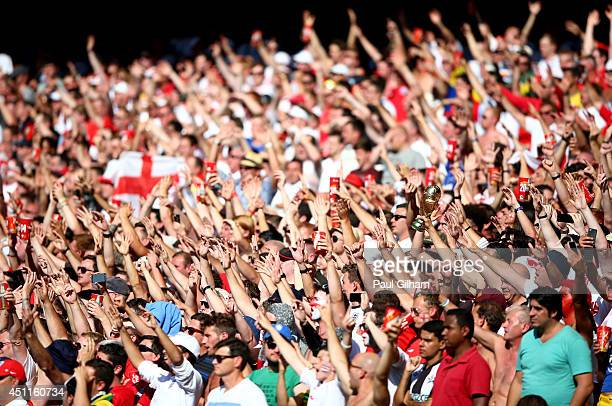 Fans cheer during the 2014 FIFA World Cup Brazil Group D match between Costa Rica and England at Estadio Mineirao on June 24 2014 in Belo Horizonte...