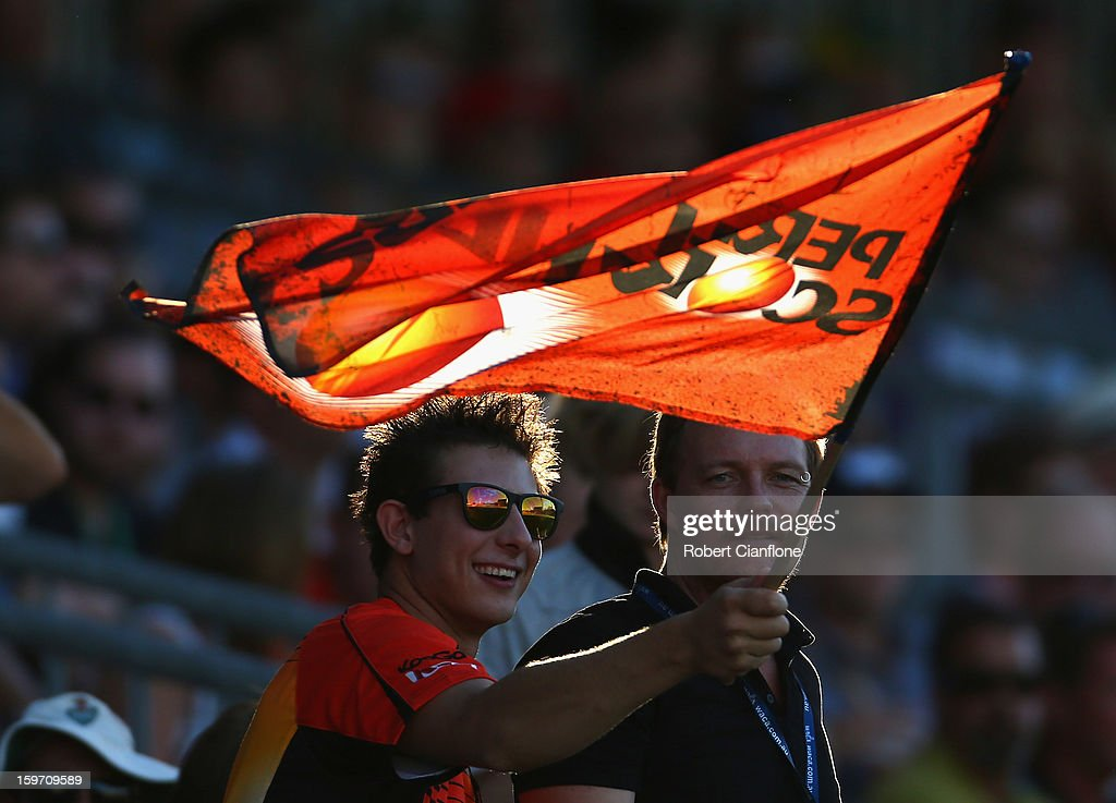 Fans cheer during the Big Bash League final match between the Perth Scorchers and the Brisbane Heat at the WACA on January 19, 2013 in Perth, Australia.