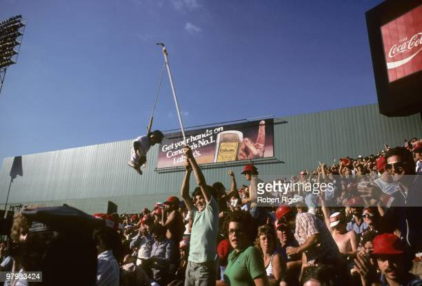 Fans cheer during the Boston Red Sox game against the New York Yankees at Fenway Park on October 2 1978 in Boston Massachusetts