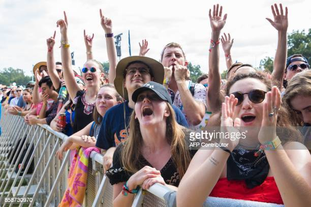 Fans cheer during the Car Seat Headrest set on Day 2 of the 2017 ACL Music Festival held at Zilker Park in Austin Texas on October 7 2017 / AFP PHOTO...