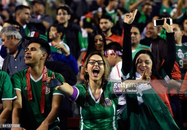 Fans cheer during the first half of exhibition match between Iceland and Mexico at Sam Boyd Stadium on February 8 2017 in Las Vegas Nevada Mexico won...